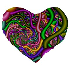 Fractal Background With Tangled Color Hoses Large 19  Premium Heart Shape Cushions
