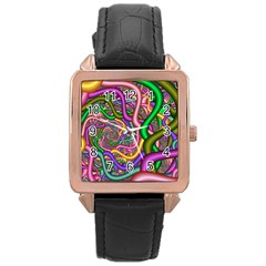 Fractal Background With Tangled Color Hoses Rose Gold Leather Watch