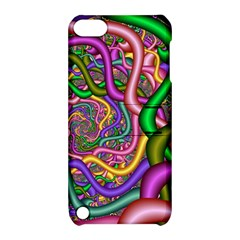 Fractal Background With Tangled Color Hoses Apple Ipod Touch 5 Hardshell Case With Stand