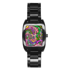 Fractal Background With Tangled Color Hoses Stainless Steel Barrel Watch