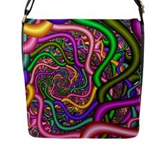 Fractal Background With Tangled Color Hoses Flap Messenger Bag (l)