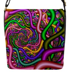 Fractal Background With Tangled Color Hoses Flap Messenger Bag (s)