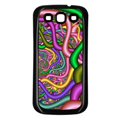 Fractal Background With Tangled Color Hoses Samsung Galaxy S3 Back Case (Black)