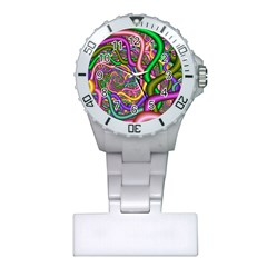 Fractal Background With Tangled Color Hoses Plastic Nurses Watch
