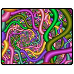 Fractal Background With Tangled Color Hoses Double Sided Fleece Blanket (medium)