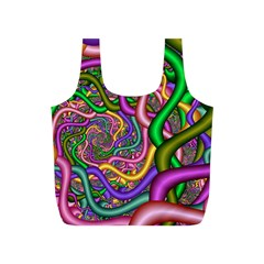 Fractal Background With Tangled Color Hoses Full Print Recycle Bags (S)