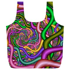 Fractal Background With Tangled Color Hoses Full Print Recycle Bags (l)