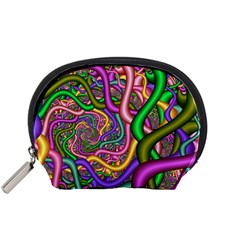 Fractal Background With Tangled Color Hoses Accessory Pouches (Small)