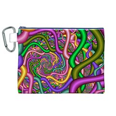 Fractal Background With Tangled Color Hoses Canvas Cosmetic Bag (xl)