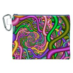 Fractal Background With Tangled Color Hoses Canvas Cosmetic Bag (XXL)