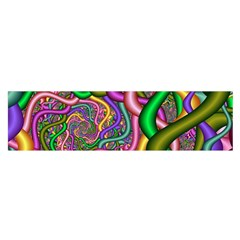 Fractal Background With Tangled Color Hoses Satin Scarf (oblong)