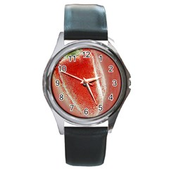 Red Pepper And Bubbles Round Metal Watch