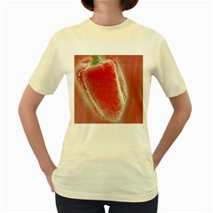 Red Pepper And Bubbles Women s Yellow T Shirt