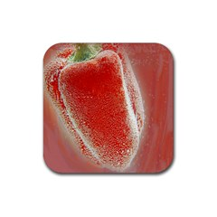 Red Pepper And Bubbles Rubber Coaster (square)