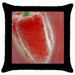Red Pepper And Bubbles Throw Pillow Case (black)