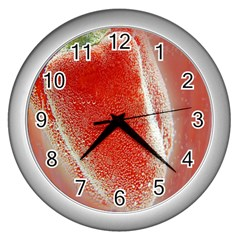 Red Pepper And Bubbles Wall Clocks (Silver)