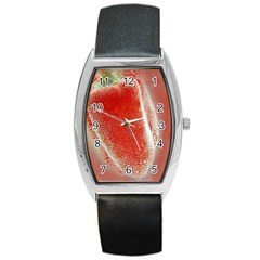 Red Pepper And Bubbles Barrel Style Metal Watch