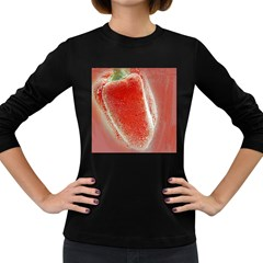 Red Pepper And Bubbles Women s Long Sleeve Dark T Shirts