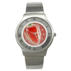 Red Pepper And Bubbles Stainless Steel Watch