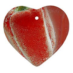 Red Pepper And Bubbles Heart Ornament (two Sides)