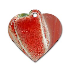 Red Pepper And Bubbles Dog Tag Heart (two Sides)