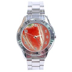 Red Pepper And Bubbles Stainless Steel Analogue Watch