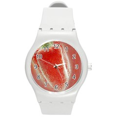 Red Pepper And Bubbles Round Plastic Sport Watch (m)