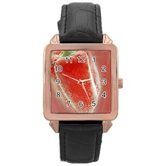 Red Pepper And Bubbles Rose Gold Leather Watch