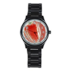 Red Pepper And Bubbles Stainless Steel Round Watch