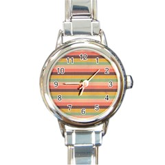 Abstract Vintage Lines Background Pattern Round Italian Charm Watch