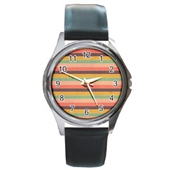 Abstract Vintage Lines Background Pattern Round Metal Watch