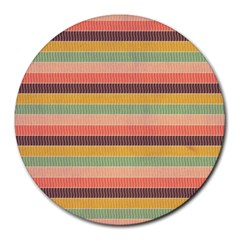 Abstract Vintage Lines Background Pattern Round Mousepads