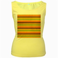 Abstract Vintage Lines Background Pattern Women s Yellow Tank Top