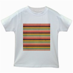 Abstract Vintage Lines Background Pattern Kids White T Shirts