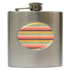 Abstract Vintage Lines Background Pattern Hip Flask (6 oz)