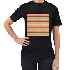 Abstract Vintage Lines Background Pattern Women s T-Shirt (Black) (Two Sided)