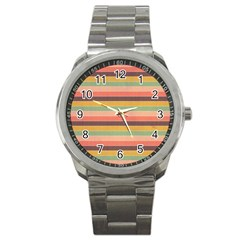 Abstract Vintage Lines Background Pattern Sport Metal Watch