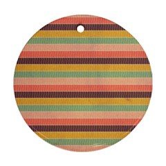Abstract Vintage Lines Background Pattern Round Ornament (two Sides)