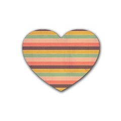 Abstract Vintage Lines Background Pattern Heart Coaster (4 Pack)
