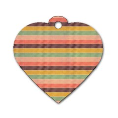 Abstract Vintage Lines Background Pattern Dog Tag Heart (One Side)