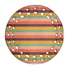 Abstract Vintage Lines Background Pattern Round Filigree Ornament (two Sides)