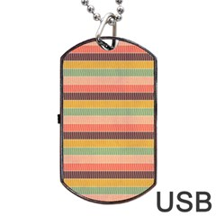 Abstract Vintage Lines Background Pattern Dog Tag Usb Flash (two Sides)