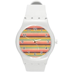 Abstract Vintage Lines Background Pattern Round Plastic Sport Watch (m)