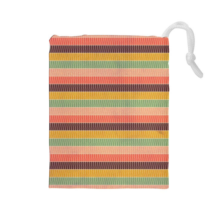 Abstract Vintage Lines Background Pattern Drawstring Pouches (Large)
