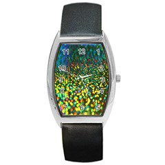 Construction Paper Iridescent Barrel Style Metal Watch
