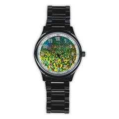 Construction Paper Iridescent Stainless Steel Round Watch