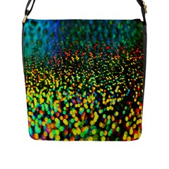 Construction Paper Iridescent Flap Messenger Bag (L)