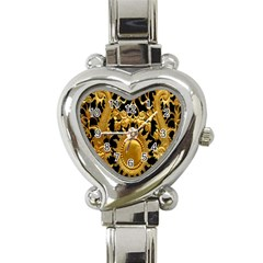 Golden Sun Heart Italian Charm Watch