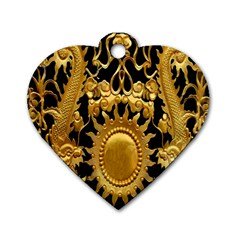 Golden Sun Dog Tag Heart (two Sides)