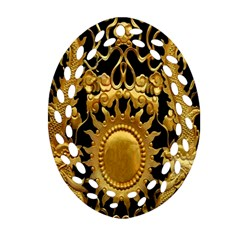 Golden Sun Oval Filigree Ornament (two Sides)